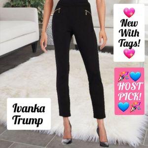 NEW! Ivanka Trump Black Pants Gold Zippers Sz 10